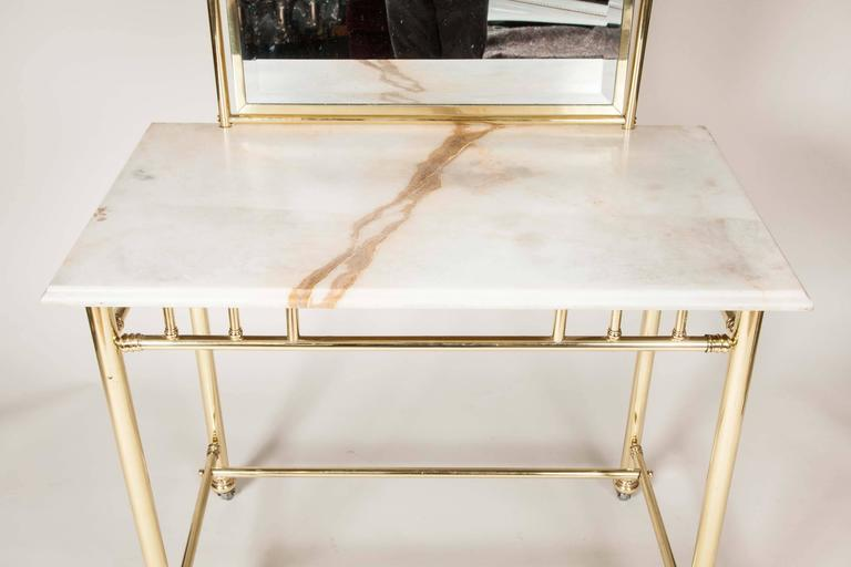 An Edwardian Brass Dressing Table With Marble Top Circa