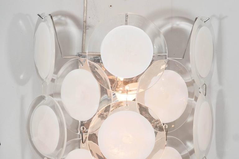 Modern Pair of White Murano Glass Disc Sconces For Sale
