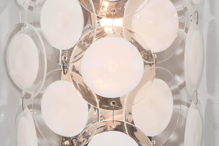 Italian Pair of White Murano Glass Disc Sconces For Sale