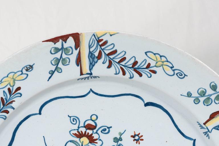 Hand-Painted Antique Bristol Delft Charger Painted in Polychrome Colors circa 1760 For Sale