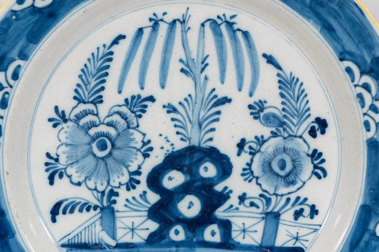 Chinoiserie Antique Delft  Blue and White Chargers circa 1770 For Sale