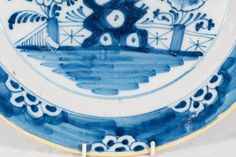 Hand-Painted Antique Delft  Blue and White Chargers circa 1770 For Sale