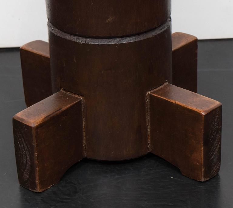 Nautical themed mahogany stools with leather seats. Designed in the 1960s
