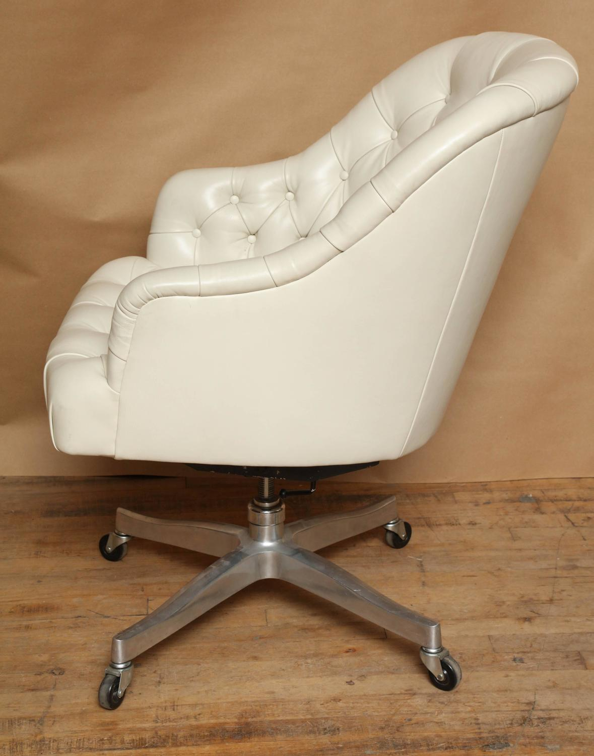 Signed edward wormley white leather desk chair for dunbar for Desk chair white leather