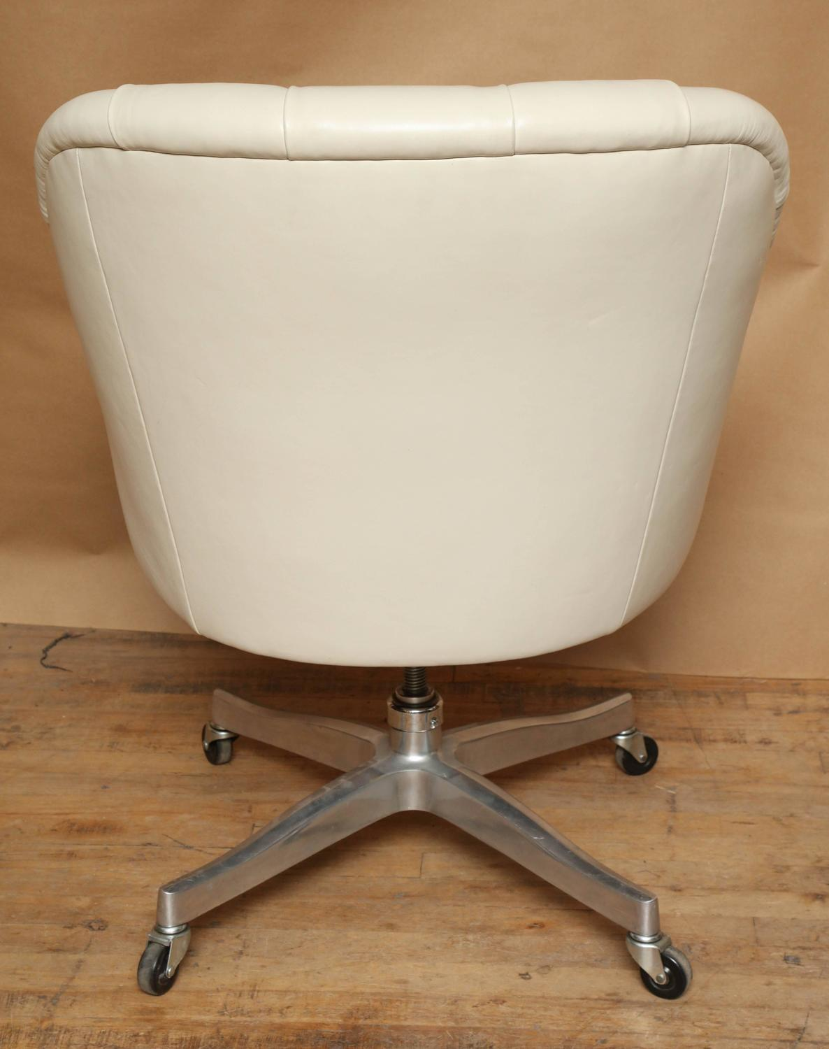 signed edward wormley white leather desk chair for dunbar