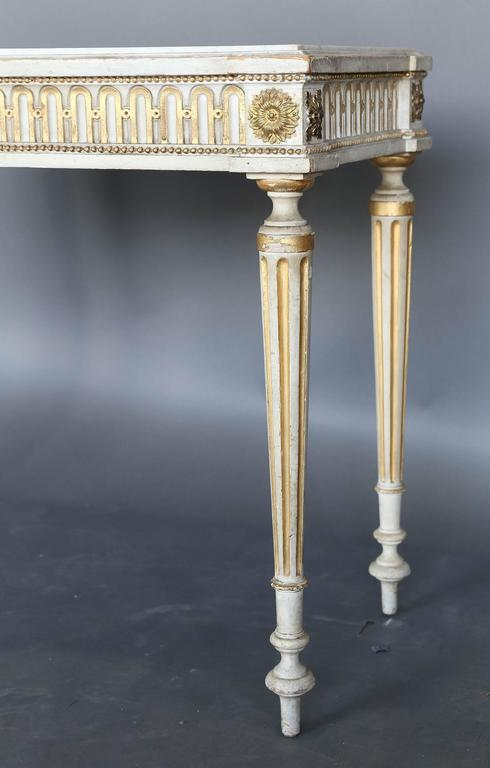 Carrara Marble Antique Narrow 19th Century French Console with Marble Top For Sale