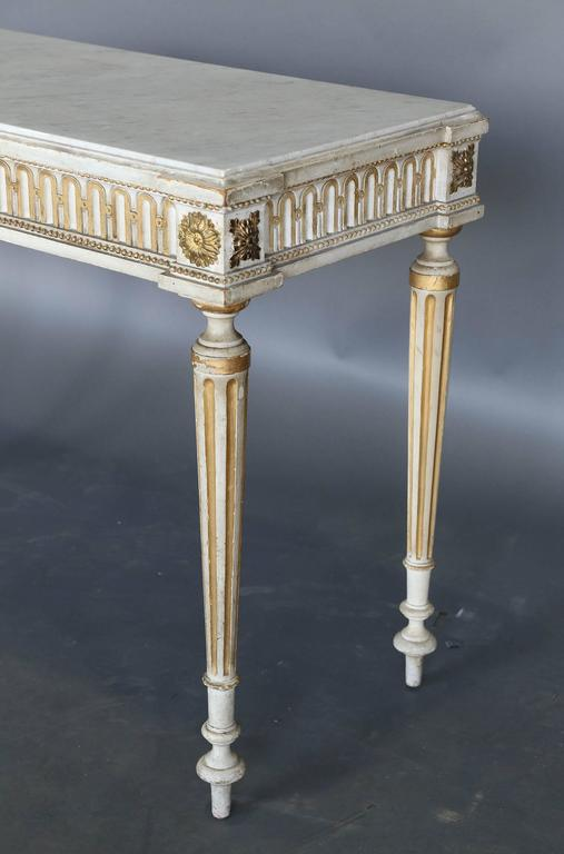 Antique Narrow 19th Century French Console with Marble Top For Sale 1