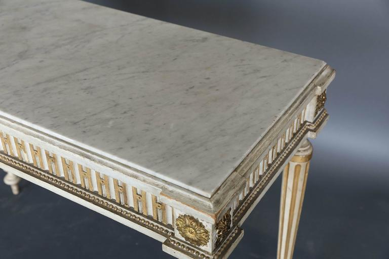 Antique Narrow 19th Century French Console with Marble Top For Sale 2