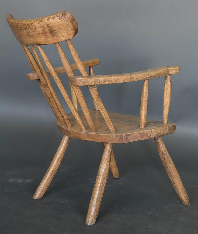 Elm Antique 19th Century English Primitive Welsh Folk Art Stick Chair For Sale