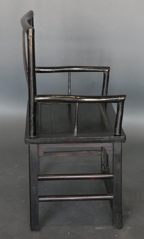 Wood Antique Pair of Chinese Qing Dynasty Officials Chairs in Black Lacquer