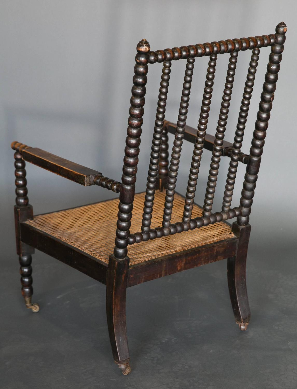 Antique 19th Century Bobbin Library Chair at 1stdibs
