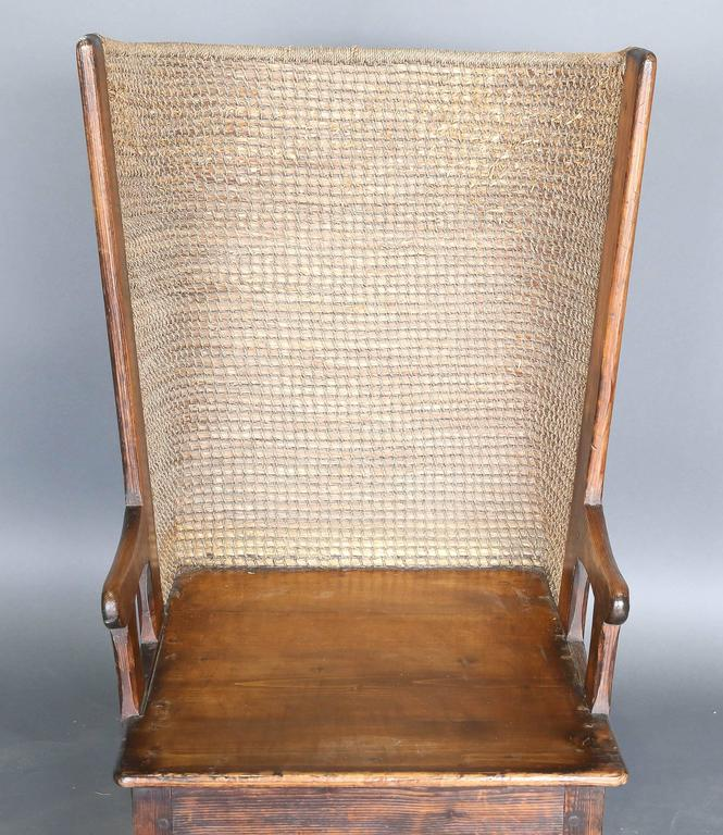 Antique 19th century child's Orkney chair from Scotland made of pine and  straw to protect the - Antique 19th Century Child's Orkney Chair For Sale At 1stdibs