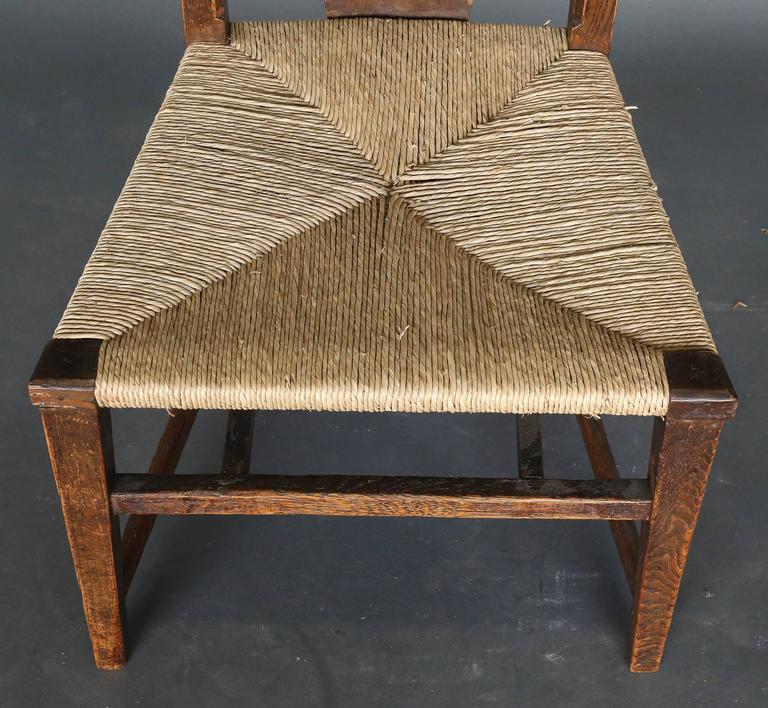This pair of ash Abingwood chairs was designed in 1896 by George Walton, together with Charles Rennie Mackintosh, and used   for the billiard room of Miss Cranston's tea rooms on Buchanan Street, Glasgow.  Walton designed the billiard room and