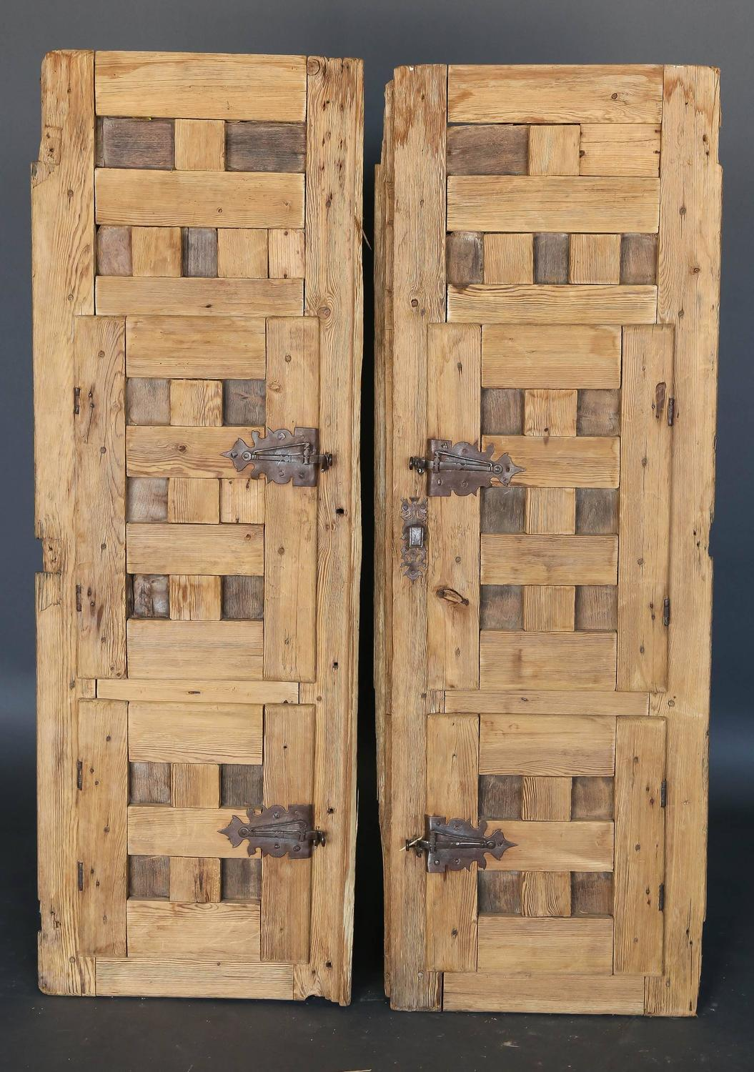 Pair of 18th century spanish pine shutters with original for Spanish style interior shutters