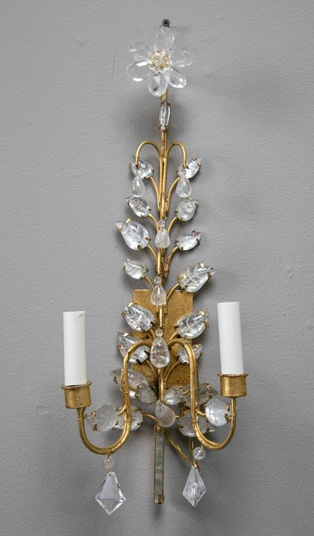 A lovely pair of Baguès style French crystal sconces with rock crystal drops.