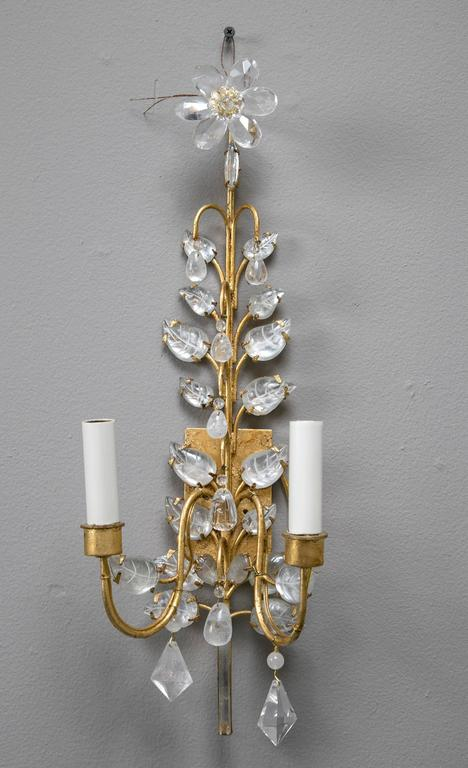 Pair of French Gilt and Crystal Sconces In Excellent Condition For Sale In Stamford, CT
