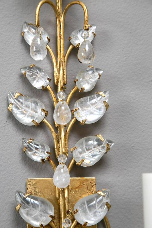 20th Century Pair of French Gilt and Crystal Sconces For Sale