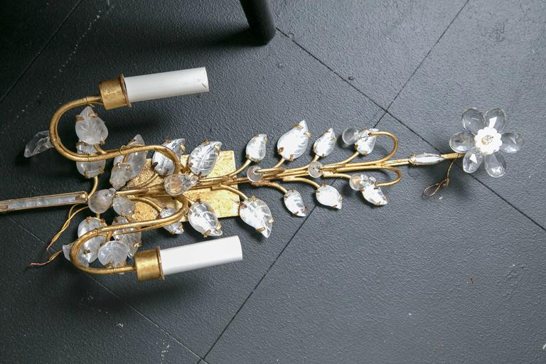 Pair of French Gilt and Crystal Sconces For Sale 2
