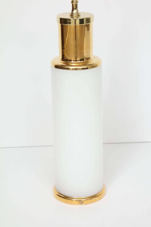 Luxus White Glass & Gold Trim Lamps 2