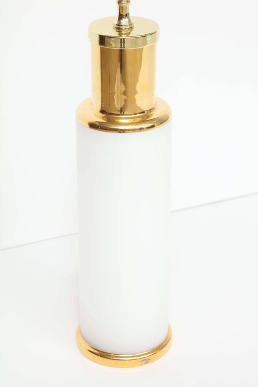 Luxus White Glass & Gold Trim Lamps 4
