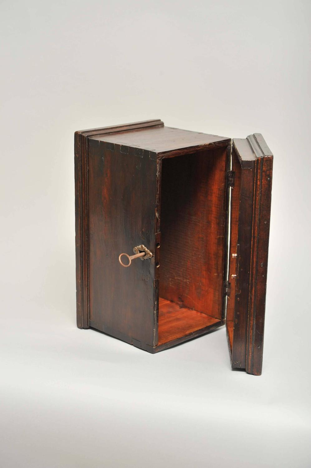 Decorative Boxes That Lock : Early th century north italian wooden box of small