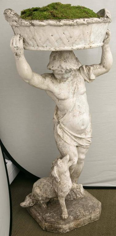 Statue Of A Boy Holding A Planter Basket For Sale At 1stdibs