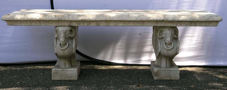 Carved Marble Bench 3