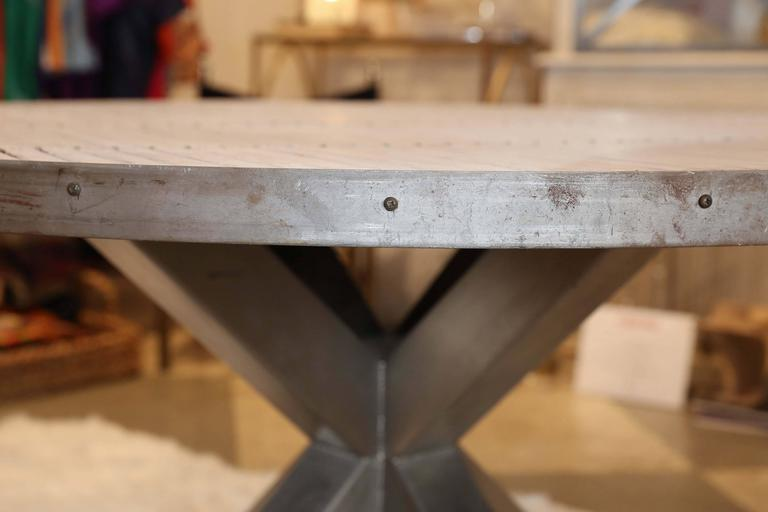 Stainless Steel Steel and Wood Slat Industrial Round Dining Table For Sale