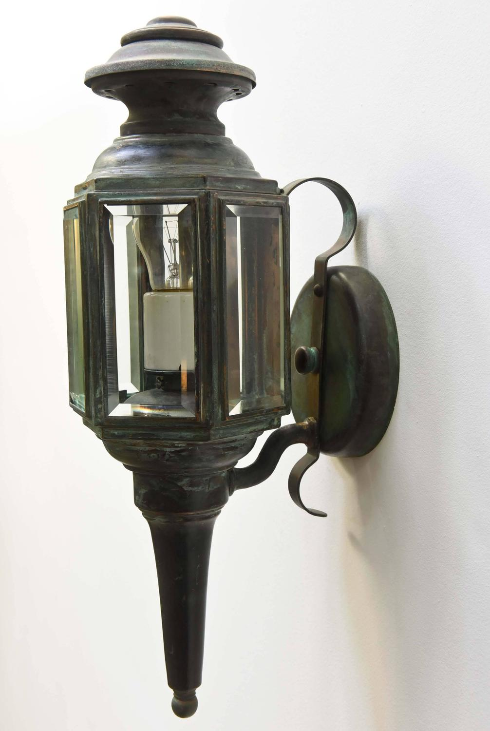 Pair of exterior carriage lights with vertigris finish for sale at 1stdibs for Carriage house exterior lights