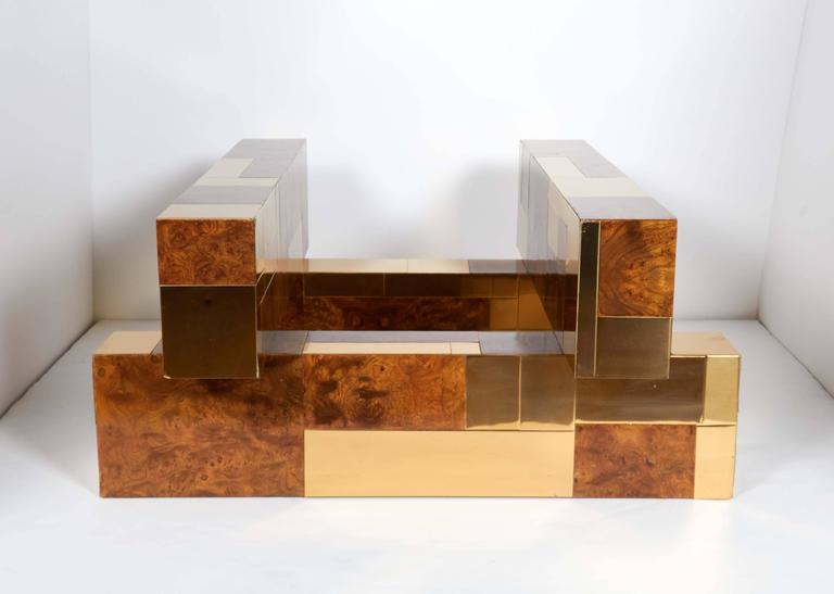 Polished Mid-Century Modern Cityscape Coffee Table by Paul Evans For Sale