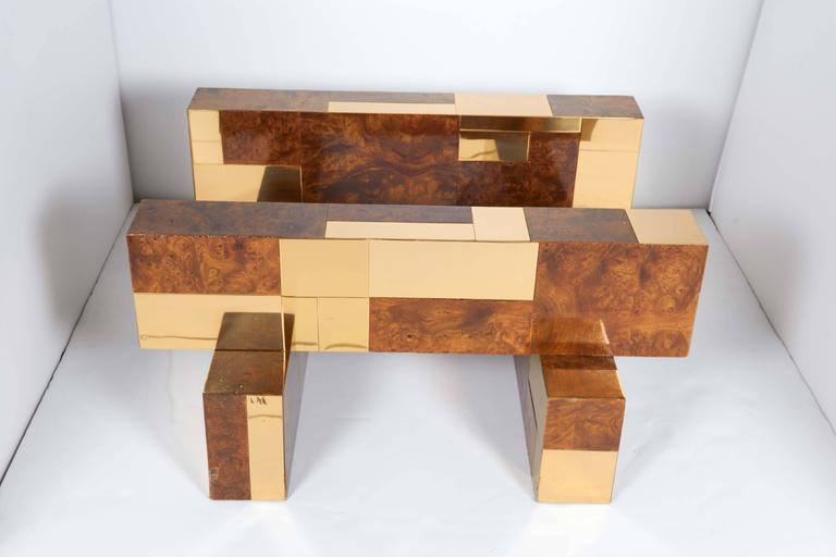 Brass Mid-Century Modern Cityscape Coffee Table by Paul Evans For Sale