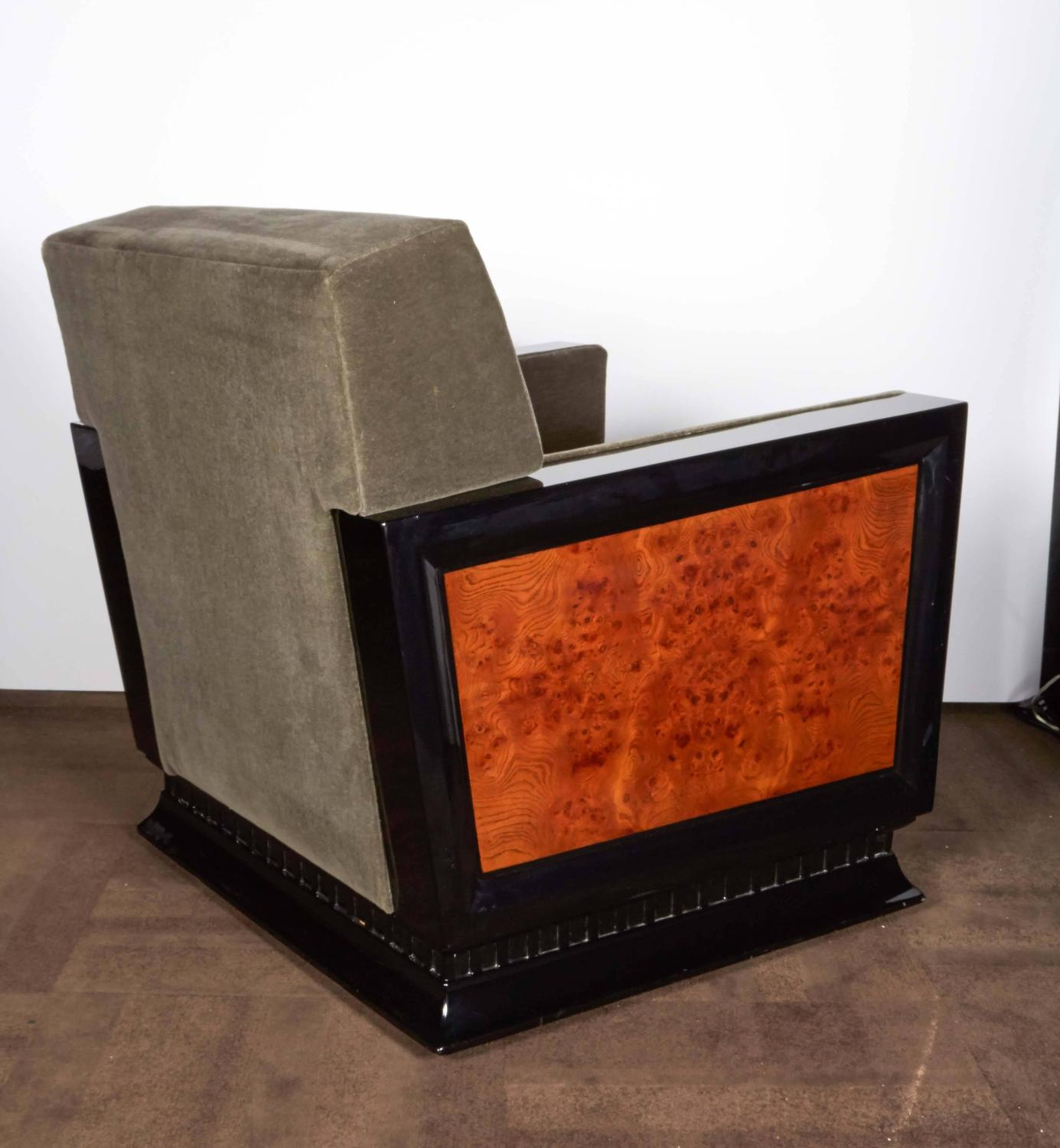 Pair Of Exceptional Art Deco Club Chairs With Exotic Wood Inlays At 1stdibs