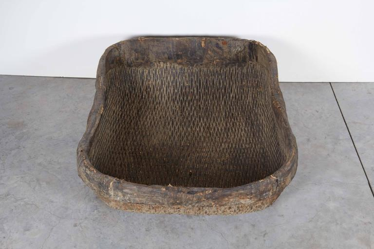 Early 20th Century Large Handmade  Woven Basket For Sale