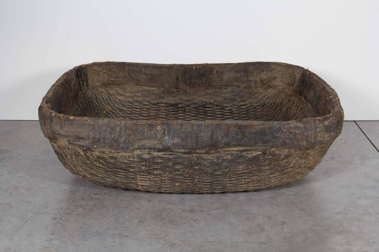 Large Handmade  Woven Basket For Sale 2