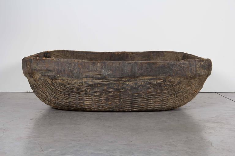 Large Handmade  Woven Basket For Sale 3