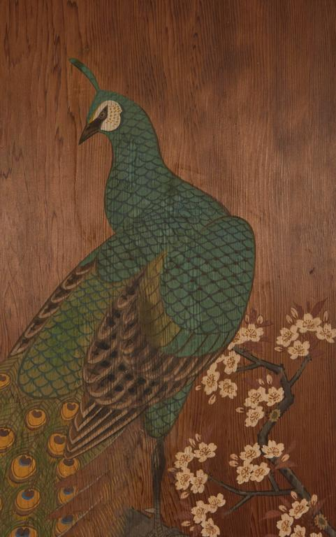 Japanese Door With Peacock Painting Late 19th Early 20th