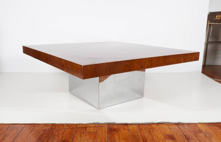 Milo Baughman Coffee and Cocktail Table in Walnut and Chrome 4