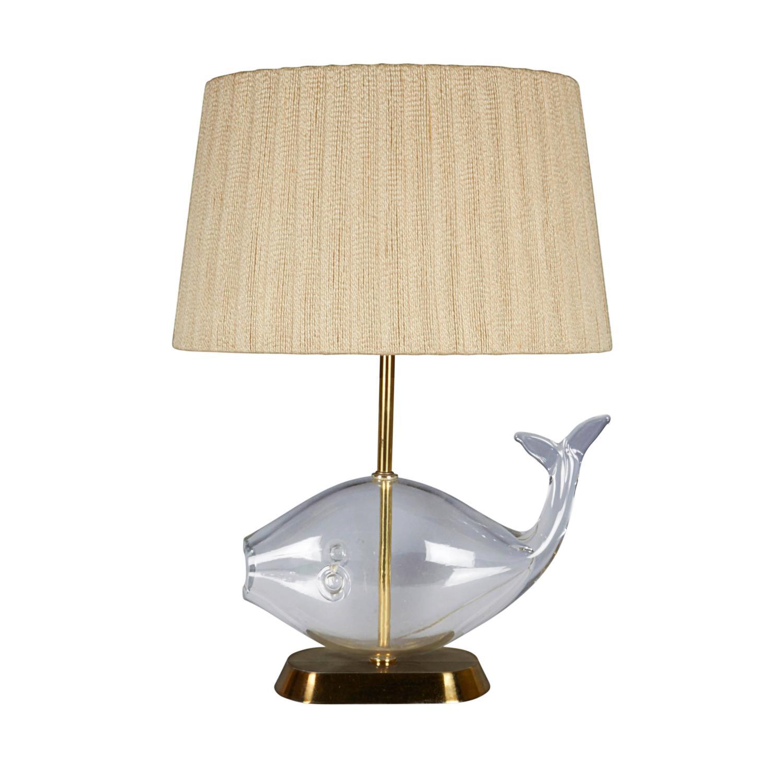 mid century blenko glass fish lamp with original shade at 1stdibs. Black Bedroom Furniture Sets. Home Design Ideas