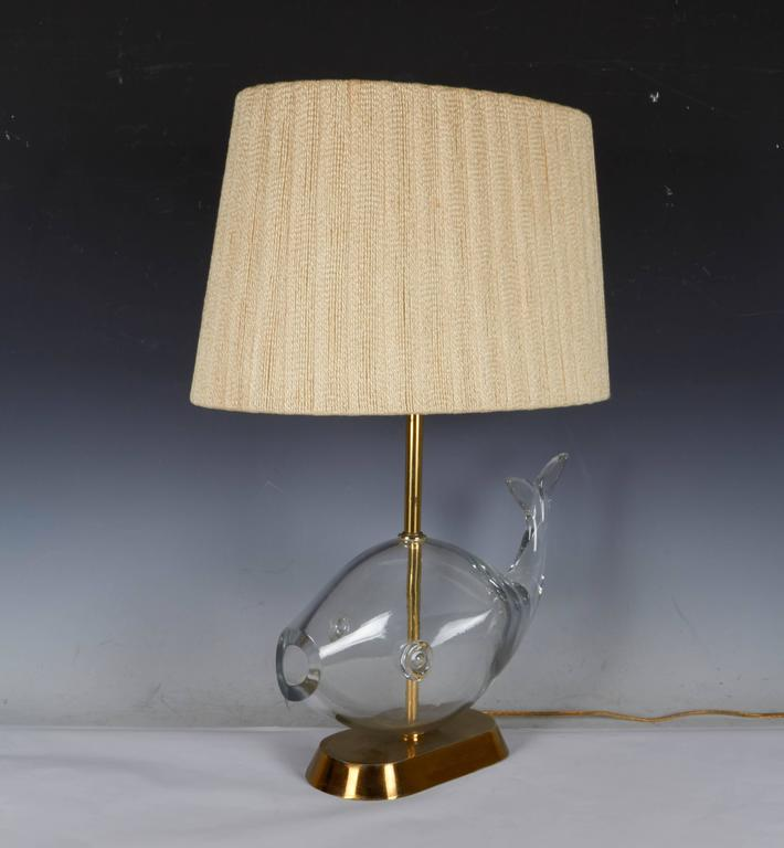 this mid century blenko glass fish lamp with original shade is no. Black Bedroom Furniture Sets. Home Design Ideas