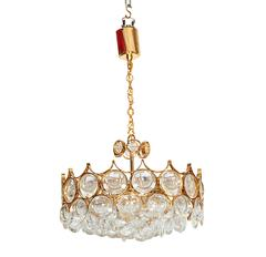 Palwa Brass Chandelier with Round Crystal Glass