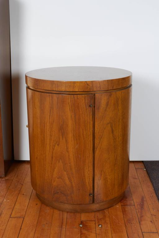 Drexel Cylinder Side Table And Cabinet At 1stdibs
