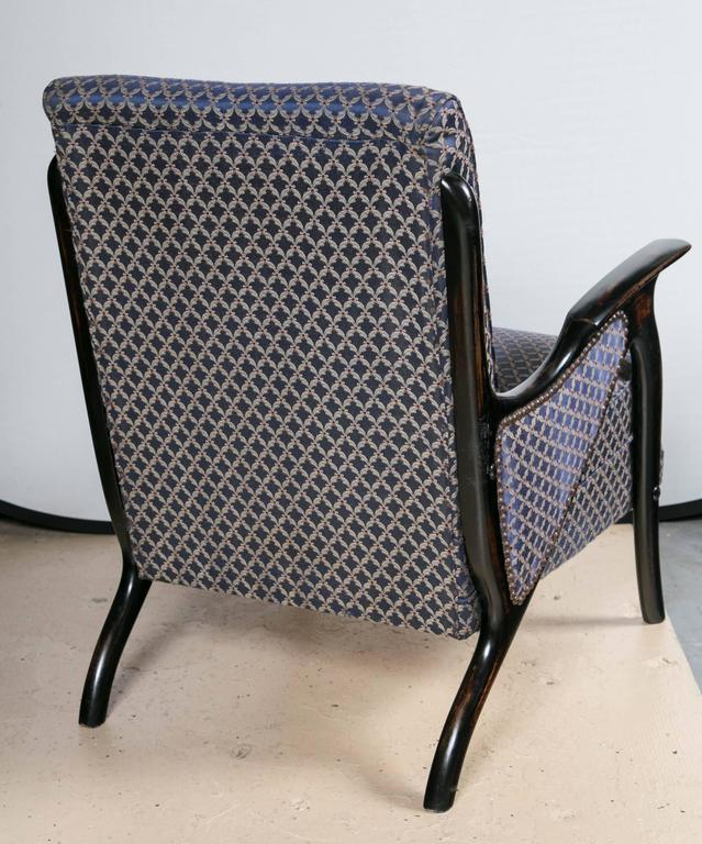 Wood Pair of Mid-Century Modern Newly Upholstered Armchairs