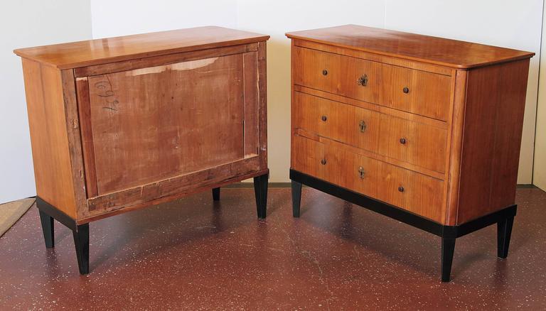 Walnut Pair of 19th Century German Biedermeier Commodes For Sale