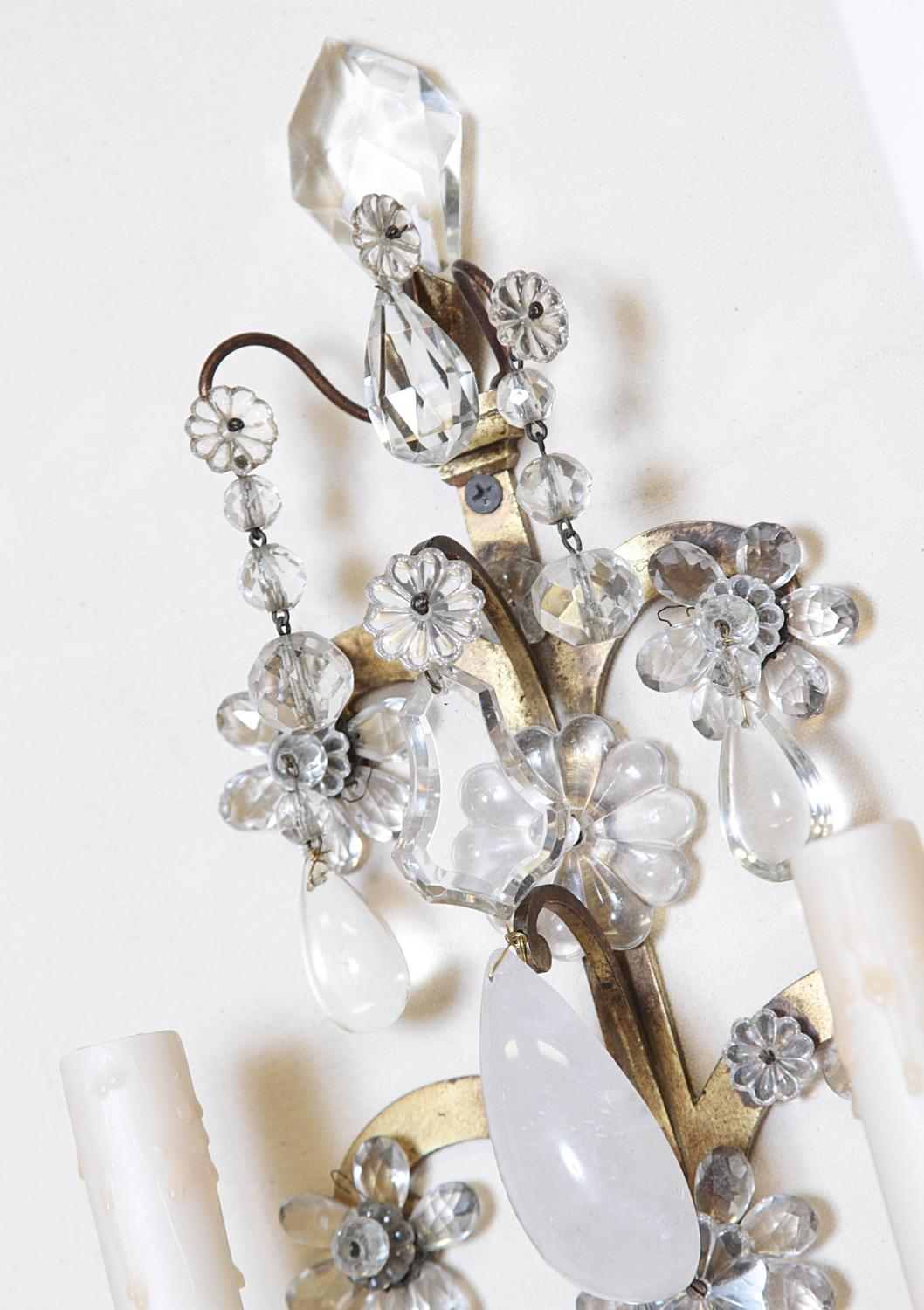 French Crystal Wall Sconces : Pair of French Crystal and Bronze Wall Sconces at 1stdibs