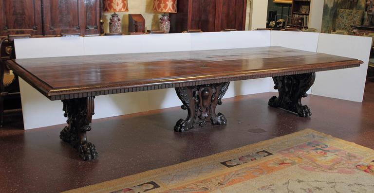 Rustic Solid Wood 11 Drawer Rectangular Pedestal Home: Massive Rectangular Table With Three Carved Pedestals For