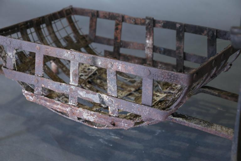 18th Century Set Of Firedogs And Log Basket For Sale At