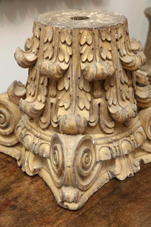 Dorische Säule aus vergoldetem Holz, 18. Jahrhundert 2