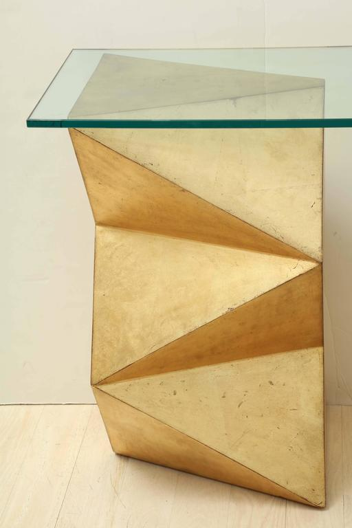 1970s French Geometric Form Giltwood And Glass Console