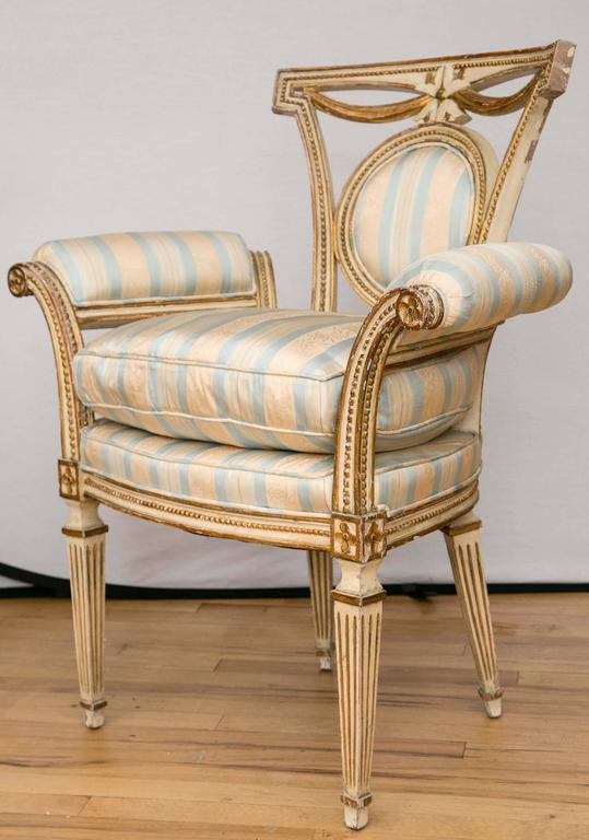Pair of Louis XVI Style Parcel-Gilt Upholstered Fauteuils In Excellent Condition For Sale In Mt Kisco, NY