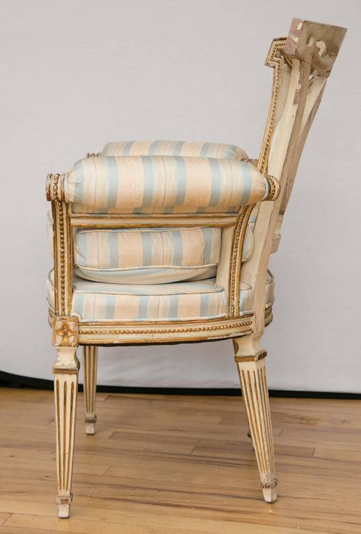 19th Century Pair of Louis XVI Style Parcel-Gilt Upholstered Fauteuils For Sale